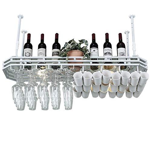 Botelleros para vino con sostenedor de vidrio Soporte metálico para colgar en el techo Soporte para vino Vaso para colgar Soporte para copa de vino Organizador, sostenedor de botella de vino (