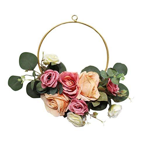 Corona De Rosas Artificiales, Guirnalda De Primavera Guirnalda Floral Con Hojas De Eucalipto Para La Fiesta De Bodas Decoración Del Hogar, Rosas Artificiales Flores Guirnalda Floral Guirnalda