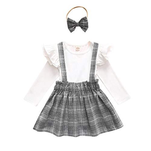 Conjunto de Trajes Mameluco Conjunto de Conjuntos de Diademas para niñas pequeñas y bebés con Mangas largas y Plaid