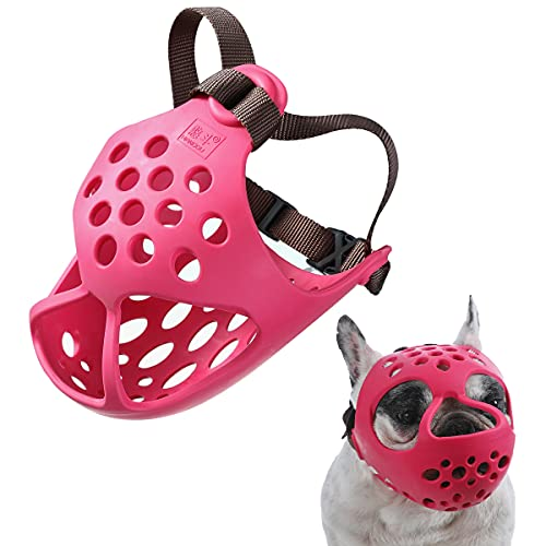 BARKLESS Short Snout Dog Muzzle, Soft Silicone Flat Faced Muzzle for French Bulldog Shih Tzu and Pug for Biting Chewing Licking and Grooming, Allows Panting (S(14-15.3in), Red)