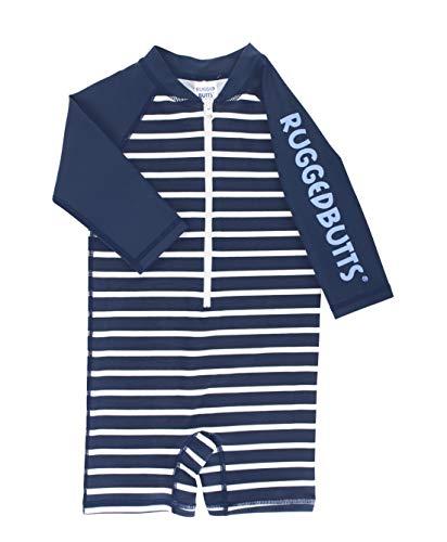 RUGGEDBUTTS Baby/Toddler Boys Navy Stripe Long Sleeve One Piece Rash Guard - 6-12m