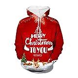ELECTRI Sweat-Shirt Imprimé Femme Hoodies Vintage NoëL Sweater Chandail Veste Softshell Chaude Casual Veste Kangourou...