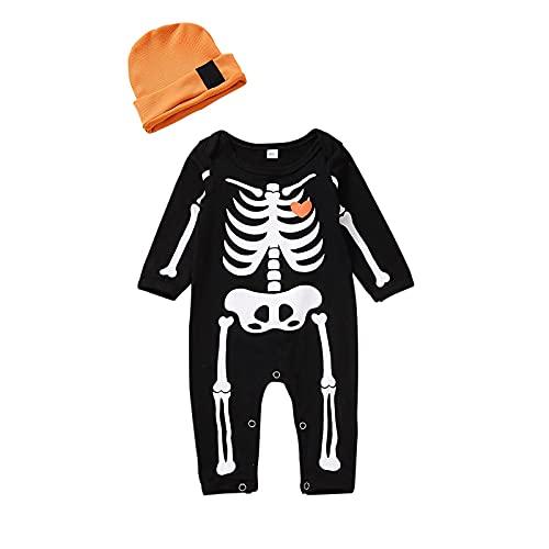 Disfraz de Halloween para bebé de niña de esqueleto, traje de cráneo de manga larga, mono de una pieza, Negro, 9 mes