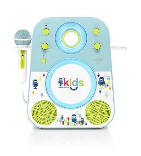 Singing Machine Kids Mood LED Glowing Bluetooth Sing-Along Speaker with Wired Youth Microphone Doubles as a Night Light, Blue/Green, (SMK250BG)