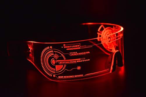 ASVP Shop Cyberpunk Sonnenbrille mit LED-Beleuchtung, perfekt für Cosplay und Festivals, Cybergoth (Rot)