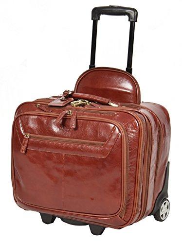 Echtes Leder Pilotenkoffer auf Räder Flug Arbeit Laptop Trolley Kabine Tasche HLG891 Cognac