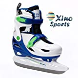 Xino Sports Adjustable Ice Skates - for Girls and Boys, Two Awesome Colors - Blue and Pink, Soft Padding and Reinforced Ankle Support, Fun to Skate! (Blue, Small)