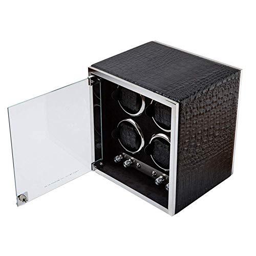 Sunmong Caja enrolladora de Reloj automática de Lujo, 5 Modos de rotación, Motor silencioso, Caja de exhibición de Almacenamiento de Relojes de Cuero PU (Color: A)