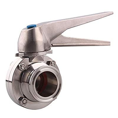 DERNORD Butterfly Valve with Trigger Handle Stainless Steel 304 Tri Clamp Clover (1.5 Inch Tri Clamp Butterfly Valve) from DERNORD