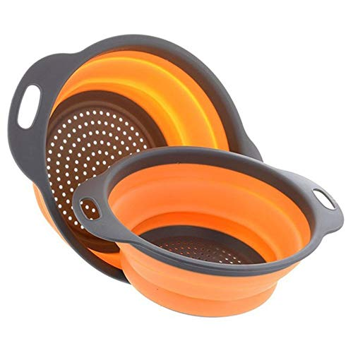 Scolapasta pieghevole in silicone atossico per frutta e verdura con manici, utensile da cucina pieghevole casuale
