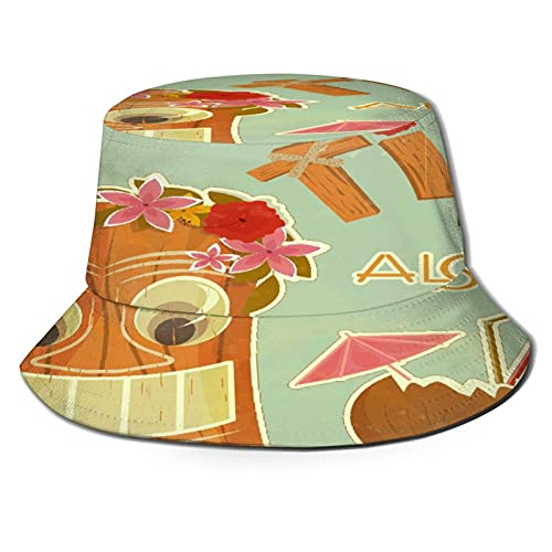 Sombrero de Pescador para ,Postal Hawaiana Vint, Sombreros de Sol Plegables con protección UV, Sombreros de Pesca de Viaje en la Playa, para Senderismo, jardín, Safari, Acampada al Aire Libre.
