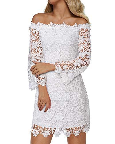 Auxo Women's Off Shoulder Floral Lace Dress Vintage Flared Sleeve Short Wedding Guest Party Cocktail Dresses White Medium