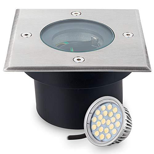 Flacher LED Bodeneinbaustrahler mit tauschbarem LED Leuchtmittel von LEDANDO - 5W - warmweiß - IP67 - Edelstahl - 70mm