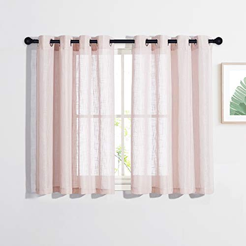 NICETOWN Linen Look Sheer Curtains Short for Bedroom, Casual Style Grommet Linen Blend Window Treatment Semi Voile Drape Panels for Daughter/Princess Room, W52 x L45, Dusty Blush, 2 PCs
