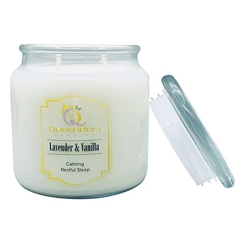 N/A. Natural Soy Wax Candle, Lavender Vanilla Fragrances 50-70 Hrs Burn Time, Eco-Friendly Reusable Glass Jar Highly Scented and Long Lasting 16 Oz White Jar