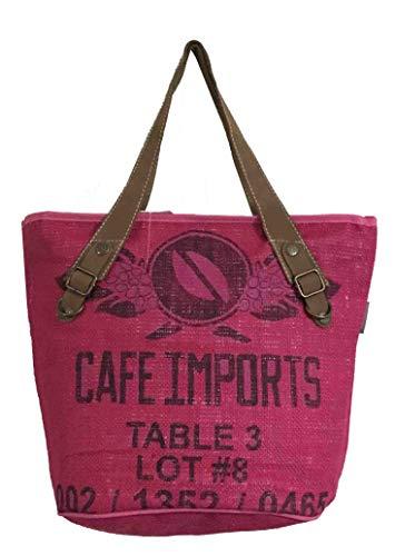 HOGACA coole Damen Handtasche Mod. 1.7 Table 3 in Rosa aus Kaffeesack Leinen Juttesack Country Line Shopper Damenhandtasche Sommer-Strand-Hippie-Ibiza-Tasche