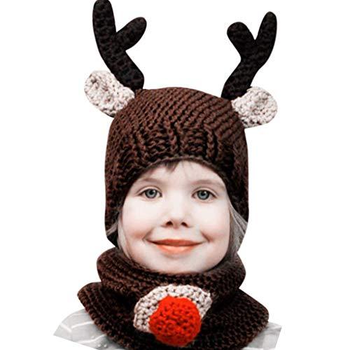 LOPILY Weihnachtsmütze Süßer Rudolph Strickmütze mit Falscher Nase für Kinder Rentier Rot Nase Strickshal Junge Mädchen Weihnachten Lustige Mütze Warm Bären Mütze Kind Wintermütze (Braun)