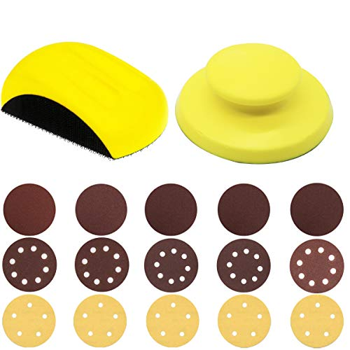 Hand Sanding Blocks, GOH DODD 5 Inch 2 Pieces Round and Mouse Hook Backing Plate Sand Pad with 15 Pieces 5 Inch Hook and Loop Discs Ideal for Wood Furniture Restoration Home Arts Crafts Automotive