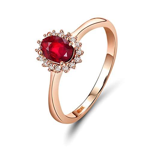 Daesar Anillos de Oro Rosa Para Mujer 18K,Oval Rubí Rojo 0.5ct Diamante 0.11ct,Oro Rosa y Rojo Talla 9,5