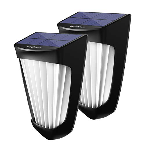OPERNEE Solar Lights Outdoor, (2 Pack) Wireless 10 Led Solar Fence Lights Waterproof Auto ON/Off Wall Decorative Lights for Porch, Patio, Deck, Yard, Garden