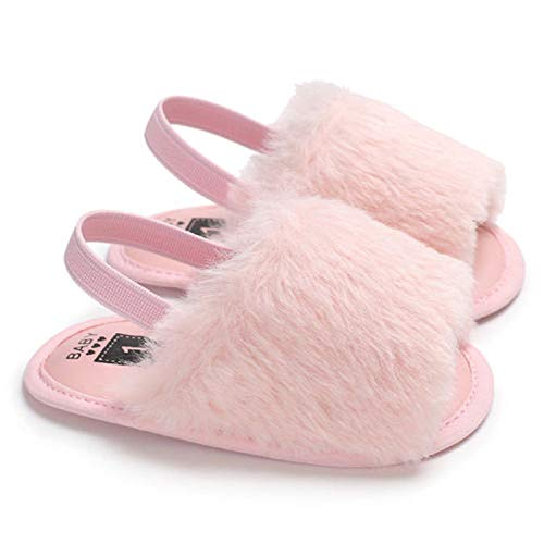 Liangchengmei Girls Sandals Toddler, Faux Fur Slides with Elastic Back Strap Flats Anti-Slip for Kids Housewear (Pink, 0-6m)
