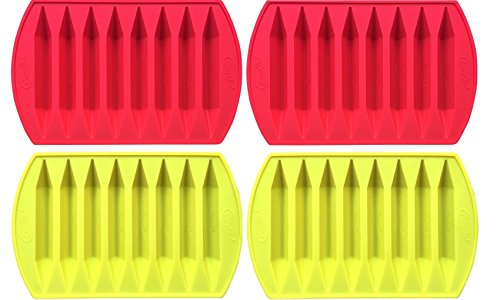 CraCycle Orginal Crayon Recycling Mold, Double Tipped, 100% Pure Silicone, Oven Safe, Durable and Reusable (4 Pack)