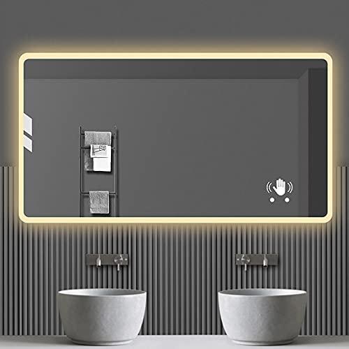 Espejo De BañO Inteligente,700mm X 900mm Espejo Para BañO Con Bluetooth Multifuncional InduccióN Del Cuerpo Humano,Prueba De Agua,DesempañAdo Con Un Clic Espejo De BañO Ajustable De Tres Luces