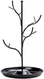 Jewelry Rack الأزياء الحديد مجوهرات شجرة حامل عرض الرف قلادة حلق حامل سوار مع صينية تخزين Jewelry Stand (Color : Black)