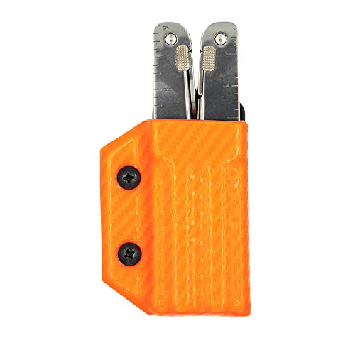 Clip & Carry Kydex Multitool Sheath for Victorinox SWISSTOOL - Made in USA (Multi-tool not included) Multi Tool Holder Holster (Carbon Fiber Orange)