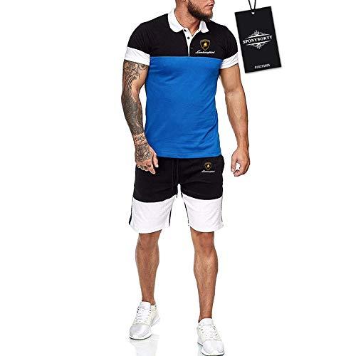 Ashleyy Hombres Solapa Camiseta Bermudas Chandal Conjunto por Lambo.R-Ghini.s Algodón Dos Piezas Corto Manga Tee Pantalones Ropa Deportiva Baloncesto / Azul/S
