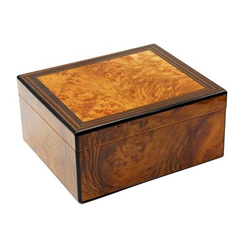 LIZANAN Caso Revestimiento de madera de cedro puede sofocar 30-50 cigarros temperatura y humedad constantes, con humidificador y regalos humidificador de cigarros portátil de viaje higrómetro de los h