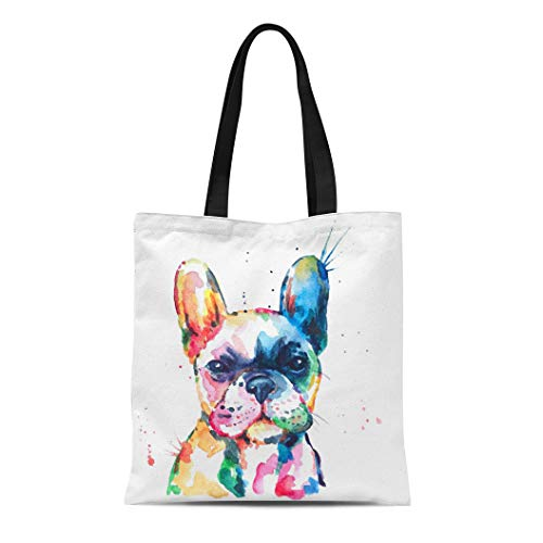 Semtomn Canvas Tote Bag Frenchie French Bulldog Original Watercolor of Dog Funny Happy Durable Reusable Shopping Shoulder Grocery Bag