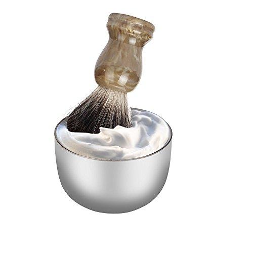 Jonerytime_ZY Fashion Stainless Steel Metal Men's Shaving Mug Bowl Cup for Shave Brush