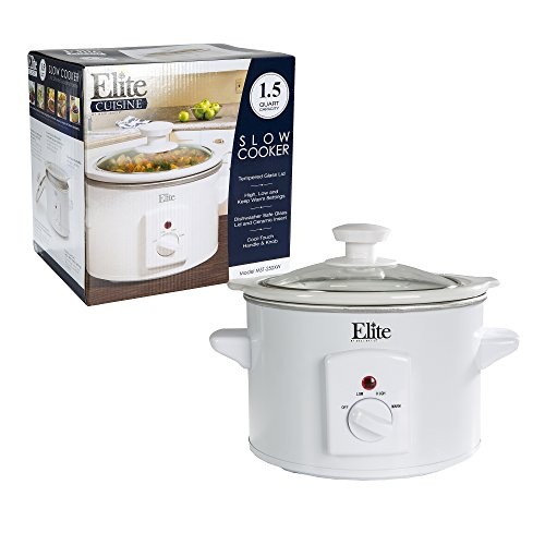 MaxiMatic Elite Cuisine Mini Slow Cooker #MST-250XW – 1.5 Quart Capacity – White