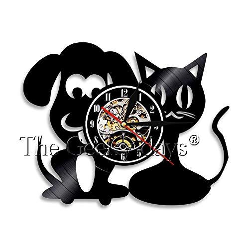 FDGFDG Nette Katze und Hund 3D Tierkunst Wanduhr Vinyl Rekordzeituhr Tierklinik Tier Wandbild