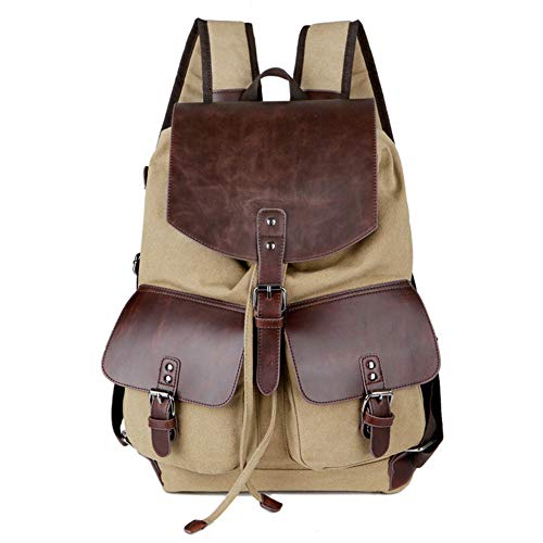 SYLL Vintage Unisex Casual Leather Backpack Canvas Rucksack Bookbag Travel Hiking Mountaineering Laptop Outdoor Backpack