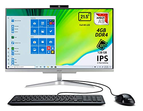 Acer Aspire C22-320 All in one con Processore AMD A9-9425, Ram 4 GB DDR4, 128 GB SSD, Display 21.5' IPS FHD LED LCD, Scheda Grafica AMD Radeon R5, Wireless Lan, Tastiera e Mouse USB, Windows 10 Home