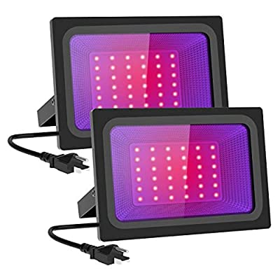 MORSEN 2 Pack 60W LED Black Lights,Blacklight LED Flood Light IP66 with Plug,for Dance Party, Glow in The Dark, Stage Lighting, Aquarium, Body Paint, Fluorescent Poster, Neon Glow
