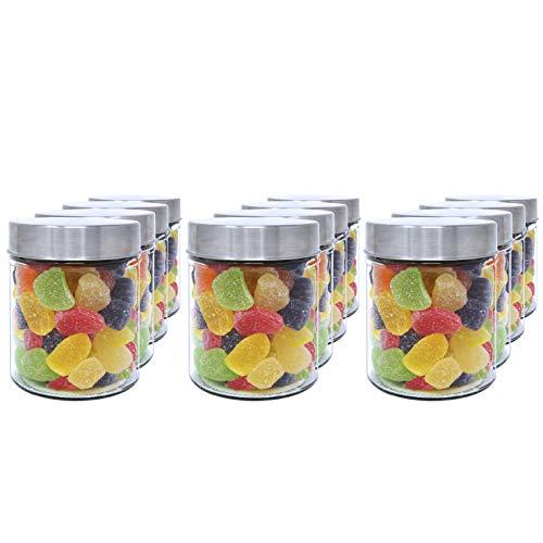 Luxury & Grace Pakje 12 Glazen Pot 0,5 L (12x10cm). Met Roestvrijstalen Schroefdop. Glazen Potjes.
