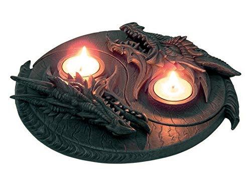 Drachen Teelichthalter Drachenrelief 2teilig Dragon Figur Gothic Drache