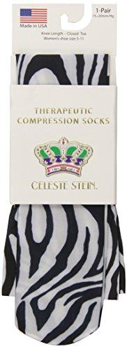Celeste Stein Therapeutic Compression Socks, Flow Zebra, 15-20 mmhg, 1, Pair