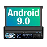 PUMPKIN Single Din Android 9.0 Car Stereo with Navigation, WiFi, Built-in DSP, Support Backup Camera, AUX, Android Auto, SD USB, 7 Inch Flip Out Touch Screen