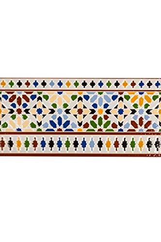 Marokkanische Fliesen Bordüre Wandfliesen bunt 1 Stk Muster 7 | Orientalische Fliese als Wanddekoration im Bad oder Küchenrückwand | Bunte...