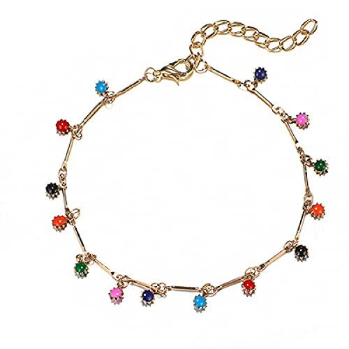 NIUBKLAS Tobillera Pulsera 3 Piezas de Cuentas de Girasol de Cristal Colorido Bohemio Pulsera de Mujer Colgante de Margarita Collar de Color