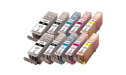 Peach 10er-Pack Tintenpatronen, XL-Ergiebigkeit, kompatibel zu Canon PGI-525, CLI-526