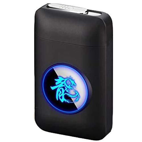 Zigarettenetui HAOAYOU Metall Zigarettenetui Box mit USB elektronische Zigarettenspitze Elektro Plasma Lichtbogen Feuerzeug Gadgets 107 * 64 * 27,8 mm Chinese Dragon