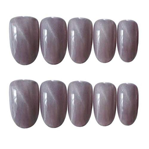 CLOAAE 24pcs/Set Round Purple Gray Cat Eye fake press on nails Bride Manicure with Full Cover Nail Tips Finished tips fake finger