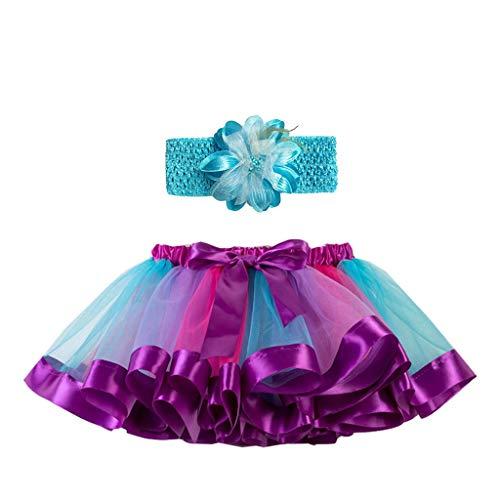 IMJONO Fille Tutu Jupe Danse Fille 2-11 Ans, Jupe Tutu Arc en Ciel Jupe Tulle Multicolore Jupe Vintage Ballet Fête Robe Costume Bandeau à Fleurs Mode Chic Élégant Vêtements (Bleu,4-7 Ans
