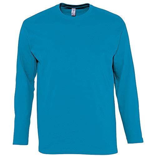 SOLS - Camiseta de manga larga para hombre - Modelo Monarch (Grande (L)/Azul agua)
