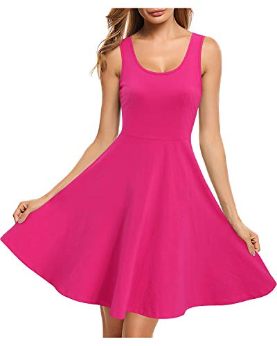 STYLEWORD Women's Sleeveless Casual Cotton Dresses Summer Fit and Flare Midi Dress(Rose,M) 2' Leather Work Belt